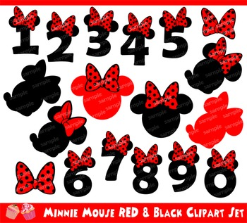 Minnie Mouse Red and Black Numbers Clipart Set