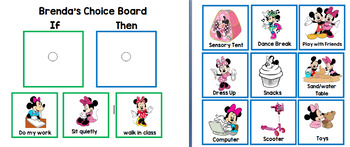 Minnie Mouse Reinforcer Choice Board