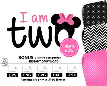 Minnie Mouse svg clipart, I am Two clipart with bow, svg, Birthday Numbers