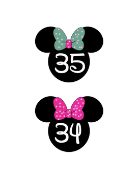 Minnie Number with different color bows 1-35