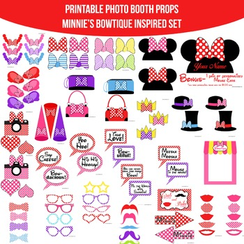 picture regarding Minnie Mouse Photo Booth Props Printable identify Minnies Bowtique Impressed Printable Image Booth Prop Established