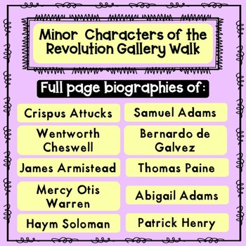 Minor Characters in the Revolution Gallery Walk