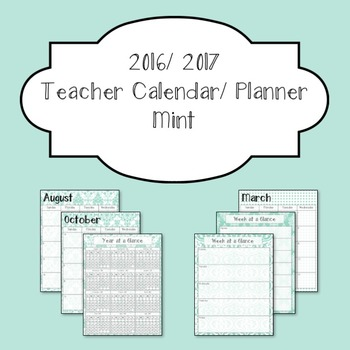 Mint 2016-2017 Teacher Calendar and Planner