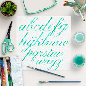 Mint Alphabet, Brush Lettering Letters