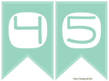 Mint Alphabet & Numbers Banners