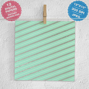 Mint And Silver Digital Paper, Silver Patterns, Mint Backgrounds
