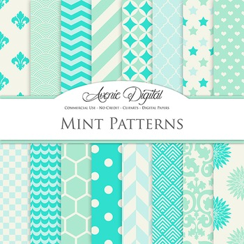 Mint & Aqua Digital Paper patterns - bright color backgrounds