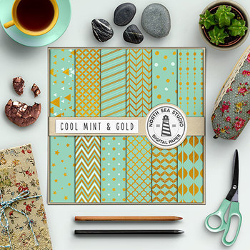 Mint Backgrounds With Gold Patterns, Gold And Mint Digital Paper