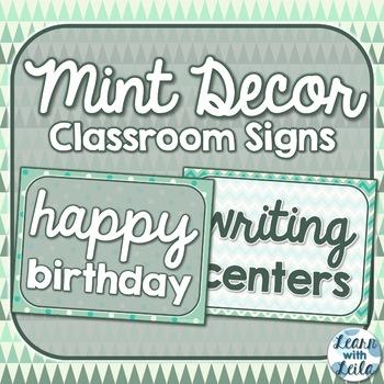 Mint Decor Classroom Signs