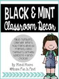 Mint & Black Classroom Decor