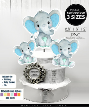 Mint Blue Elephant Centerpiece diaper topper design, digital elephant clip art