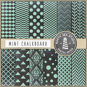 Chalkboard Background, Mint Chalkboard Digital Paper