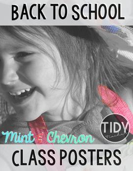Mint & Chevron Classroom Poster Pack!