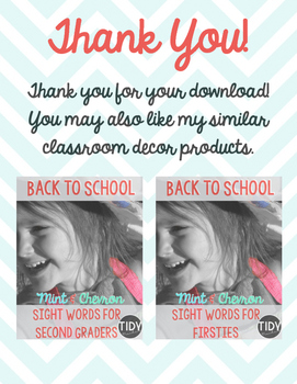 Mint & Chevron Schedule Cards designed for Upper Elementary!