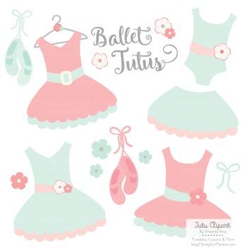 Mint & Coral Ballet Clipart - Ballet Tutus, Ballet Clipart