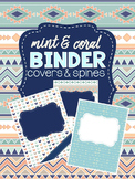 Mint & Coral - Binder Covers and Spines - EDITABLE!