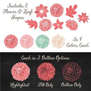Mint & Coral  Dahlia Clipart