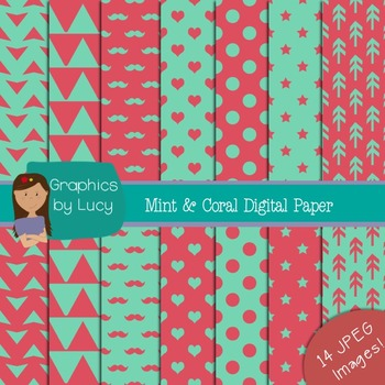 Mint and Coral Digital Papers 14 JPEG Images {Personal & Commercial Use}