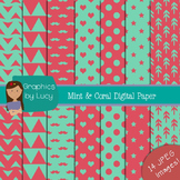 Mint and Coral Digital Papers 14 JPEG Images {Personal & C