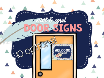 Mint & Coral - Door Signs