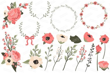 Mint & Coral Floral Bicycle Vectors - Flower Clipart, Peonies Clip Art, Poppies
