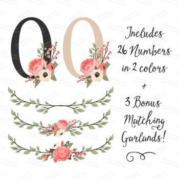 Mint & Coral Floral Numbers With Vectors - Flower Clip Art, Peonies Clipart