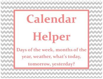 Mint, Coral, Grey Calendar Helper