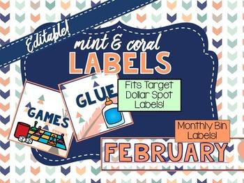 Mint & Coral Labels - Editable