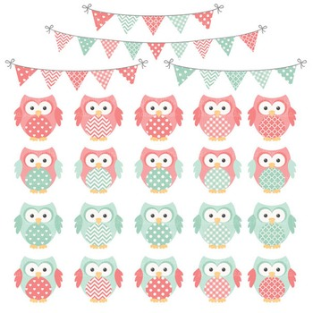 Mint & Coral Owl Vectors & Papers - Baby Owl Clipart, Owl Clip Art, Baby Owls