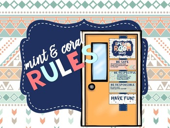 Mint & Coral - Speech Room Rules EDITABLE