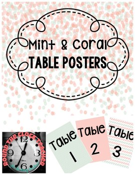 Mint & Coral Table Posters