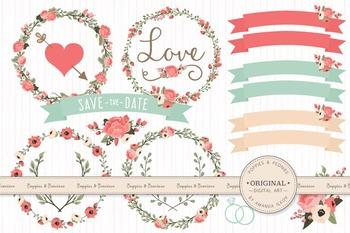 Mint & Coral Wedding Floral Clipart & Vectors - Flower Clip Art, Banners