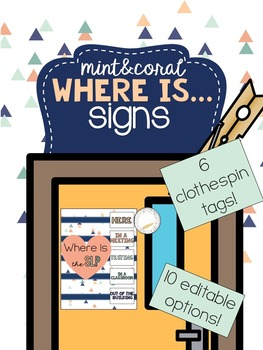 Mint & Coral - Where is the SLP? Editable Signs