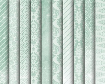 Mint Damask Papers, Digital Papers, Mint Paper Set #107