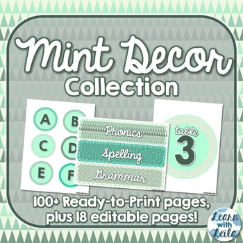 Mint Decor Collection   70+ Ready-to-Print Pages   26 Editable Pages