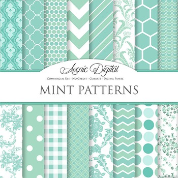 Mint Digital Paper patterns - bright color Mint Green scrapbook backgrounds