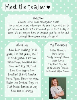 Mint Dots Meet The Teacher Template **Editable**