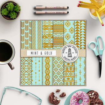 Mint & Gold Aztec Patterns