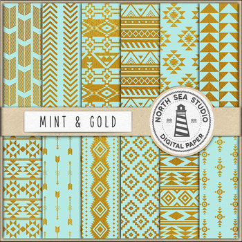 Mint & Gold Aztec Patterns, Gold Patterns, Native American Pattern