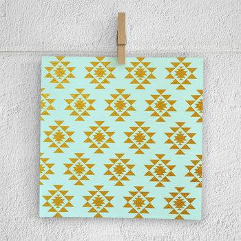 Mint & Gold Aztec Patterns, Gold Patterns, Native American Pattern