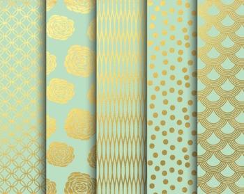 Mint Gold Papers, Digital Paper, Mint Gold Paper Set #057