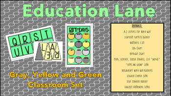 Mint, Gray, and Yellow Classroom Decor