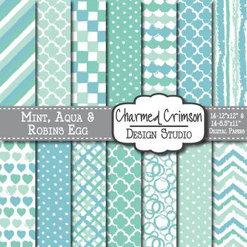 Mint Green, Aqua, and Blue Doodle Digital Paper 1225