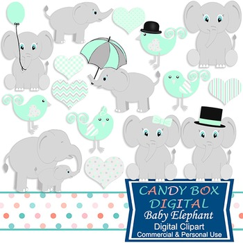Mint Green Baby Elephant Clip Art