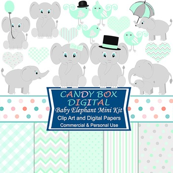 Mint Green Baby Elephant Mini-Kit w/ Clip Art and Digital Papers
