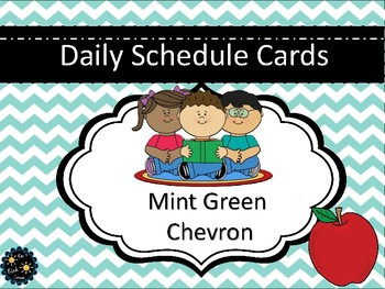 Mint Green Chevron Schedule Cards
