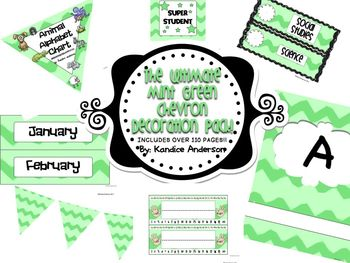 Mint Green Chevron Ultimate Decoration Pack