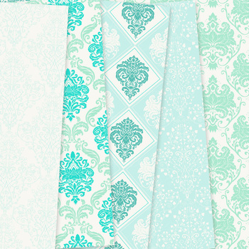 Mint Green Damask Digital Paper patterns ornate scrapbook background