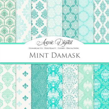 Mint Green Damask Digital Paper patterns ornate scrapbook