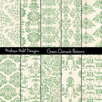 Mint Green Damask Patterns